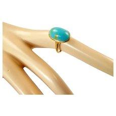 Edwardian Turquoise and 12 Karat Gold Ring