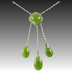 Edwardian Green Chalcedony Necklace Set in Silver