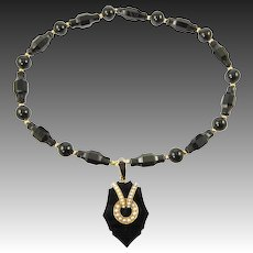Victorian Jet, Pearl, and 14 Karat Gold Locket on Onyx and 14 Karat Gold Necklace