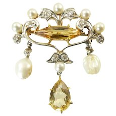 Antique Diamond, Pearl, and Topaz Brooch / Pendant made of Platinum Topped Gold