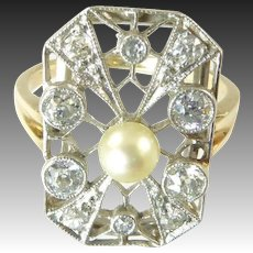 Belle Epoque Diamond and Pearl Ring