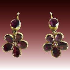 Georgian Garnet Pansy Earrings in 14 Karat Gold