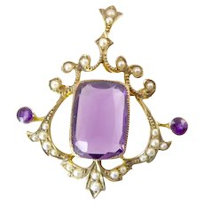 Antique Amethyst, Gold, and Seed Pearl Lavalier Brooch / Pendant