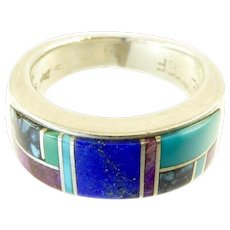 Earl Plummer Navajo Inlaid Sterling Ring with Turquoise and Lapis