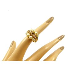 Retro Cultured Pearl and 10 Karat Gold Ring