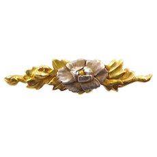 Handmade 22 Karat Gold and Silver Floral Brooch