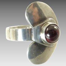 Sam Kramer Silver and Garnet Ring