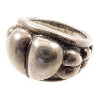 Kieselstein Cord Puffy Heart Silver Ring