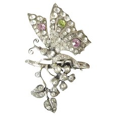 Victorian Sterling Silver and Paste Butterfly Brooch