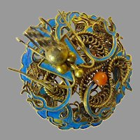 Chinese Dragon Brooch with Kingfisher Feathers
