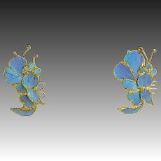 Vintage Chinese Kingfisher Feather Earrings