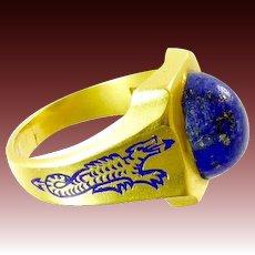Vintage Ring with Enamel Dragons and Lapis Set in 14 Karat Gold
