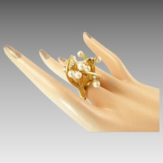 J Arnold Frew Modernist Cocktail Ring in 14 Karat Gold with Pearls and Diamonds