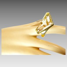 J Arnold Frew Modernist Ring in 14 Karat Gold with Rutilated Quartz