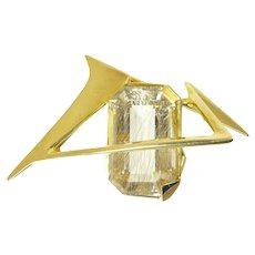 J Arnold Frew Brooch in 14 Karat Gold with Large Rutilated Quartz