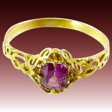 Edwardian Pink Tourmaline Ring in 14 Karat Gold