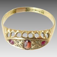 Antique Tourmaline and Ruby Ring in 9 Karat Gold