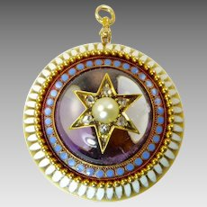 Victorian Enamel, Amethyst, Diamond, and Pearl Pendant in 14 Karat Gold