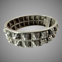 Victorian Silver Bangle with Studded Hobnail Design