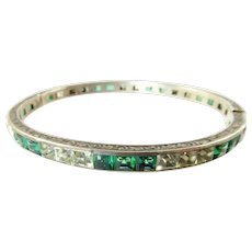 Art Deco Sterling Hinged Bangle with Green and Clear Paste Stones