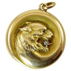 Victorian Locket of Panther in 12 Karat Gold and Diamond