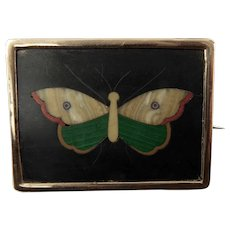 Victorian Pietra Dura Butterfly Brooch Framed in 12 Karat Gold