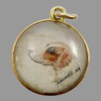 Reverse Carved Intaglio ( Essex Crystal ) Pendant of a Dog
