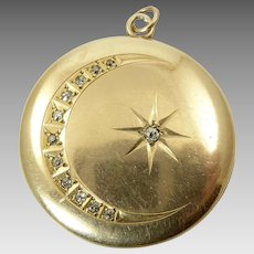 Large Victorian Gold and Diamond Locket with Moon and Star