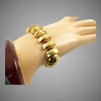 Retro 14 Karat Gold Half Dome Bracelet