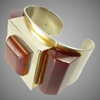 Vintage Flamand Josephine Baker Art Deco French Cuff Bracelet with Bakelite