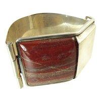Wide Vintage Silver Cuff Bracelet with Red Jasper