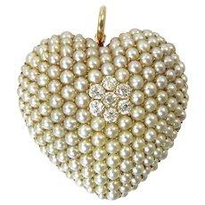 Krementz Edwardian Heart Brooch / Pendant with Seed Pearls and Diamonds in 14 Karat Gold