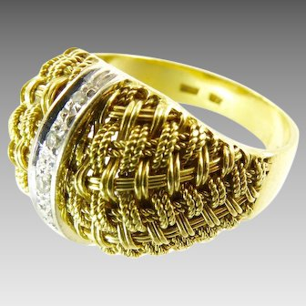 Vintage 18 Karat Gold and Diamond Dome Ring with a Basketweave Texture