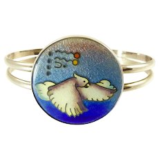 Vintage Colette Denton Sterling and Cloisonne Enamel Cuff Bracelet with Bird