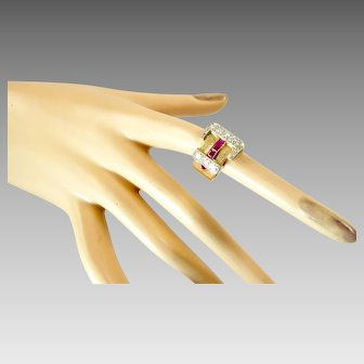 Retro Buckle Ring in 14 Karat Rose Gold with Diamonds and Rubies