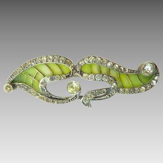 Art Nouveau Plique a Jour Enamel and Paste Brooch