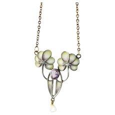 Jugendstil Plique a Jour Necklace