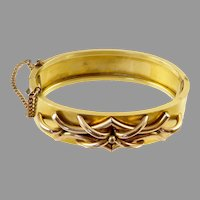 Antique Gold Filled Hinged Bangle