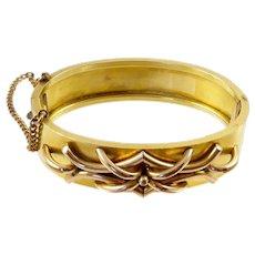 Antique Gold Filled Hinged Bangle