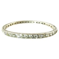Art Deco Sterling and Clear Paste Hinged Bangle