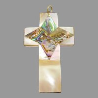 Victorian Mother of Pearl and Abalone Cross
