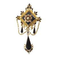 Victorian Onyx and 14 Karat Gold Brooch/Pendant