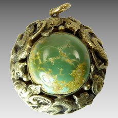 Vintage Gilt Silver Pendant with Green Turquoise and Dragons