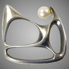 Sculptural Modernist Brooch with Cultured Pearl