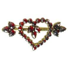 Victorian Garnet Witch's Heart Brooch