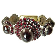 Victorian Garnet Bracelet with Large Carbuncle Cabochons