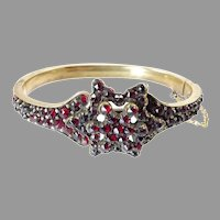 Antique Bohemian Garnet Hinged Bangle with Star Motif