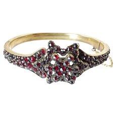 Antique Bohemian Garnet Hinged Bangle with Star Motif