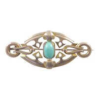Heavy French Arts and Crafts Silver Brooch with Turquoise Cabochon