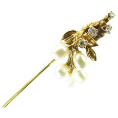 Vintage 14 Karat Gold, Diamond, and Cultured Pearl Stick Pin